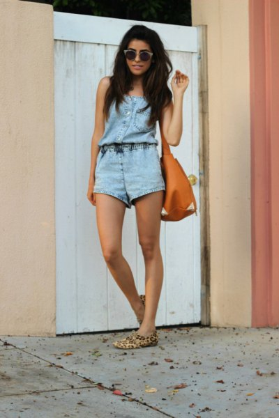 denim romper cheetah flats