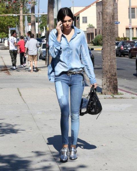 denim shirt jeans short silver boots