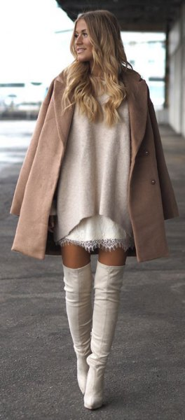 drape camel wool coat over shoulders