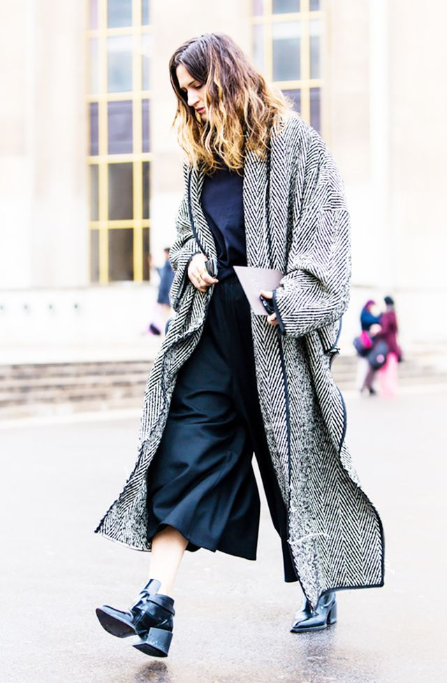 duster jacket black white