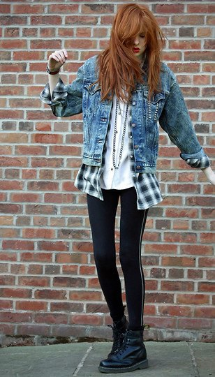 flannel plaid shirt denim jacket combat boots