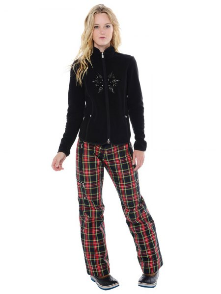 fleece jacket black and red plaid loose fit pants