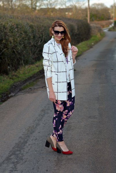 floral leggings oversized checked blazer