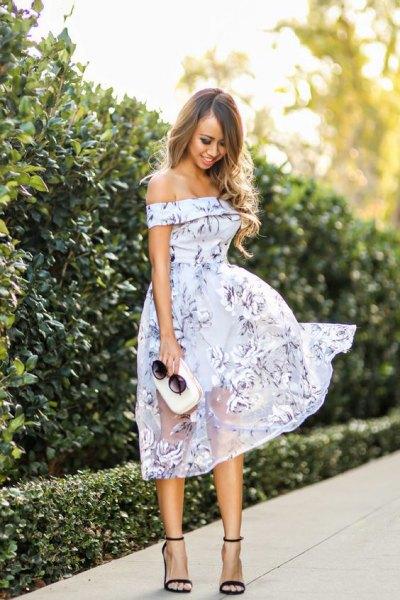 floral over the shoulder sheer breezy dress