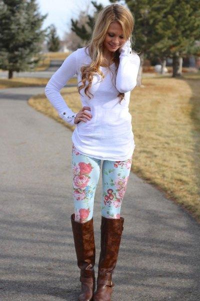 floral printed leggings white long sleeve tee