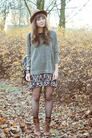 floral skirt grey knit sweater hiking boots