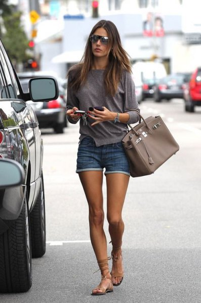 gladiator sandals long sleeve t shirt denim shorts