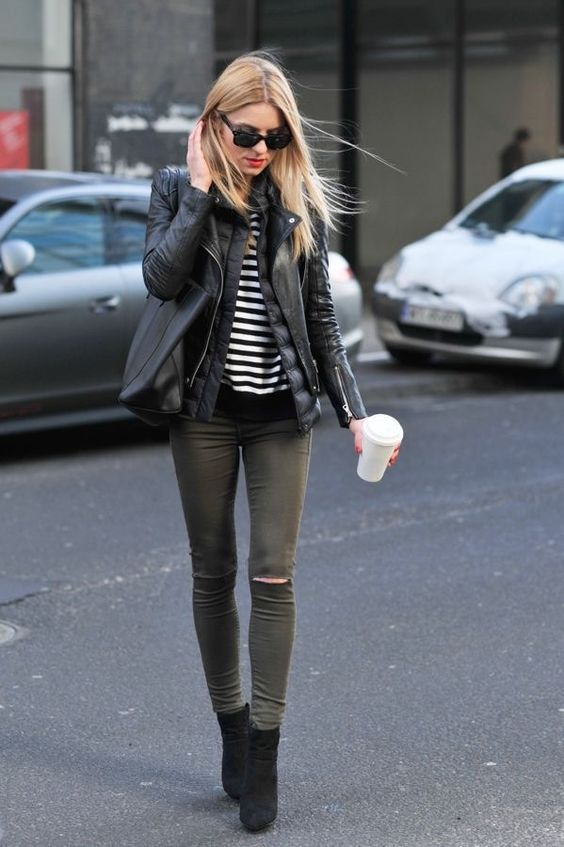 green skinny jeans two jackets