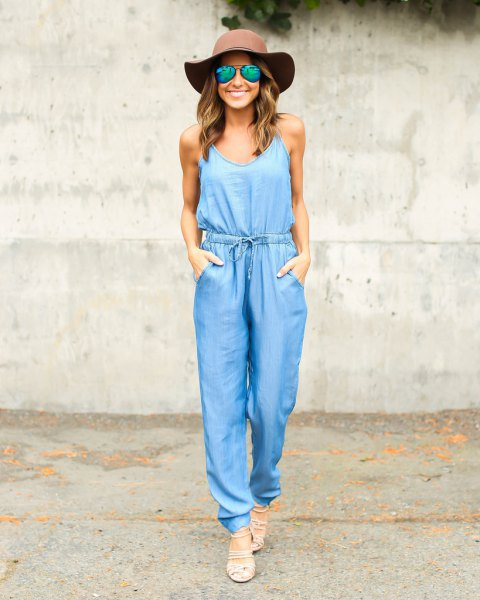 green floppy hat chambray jumpsuit