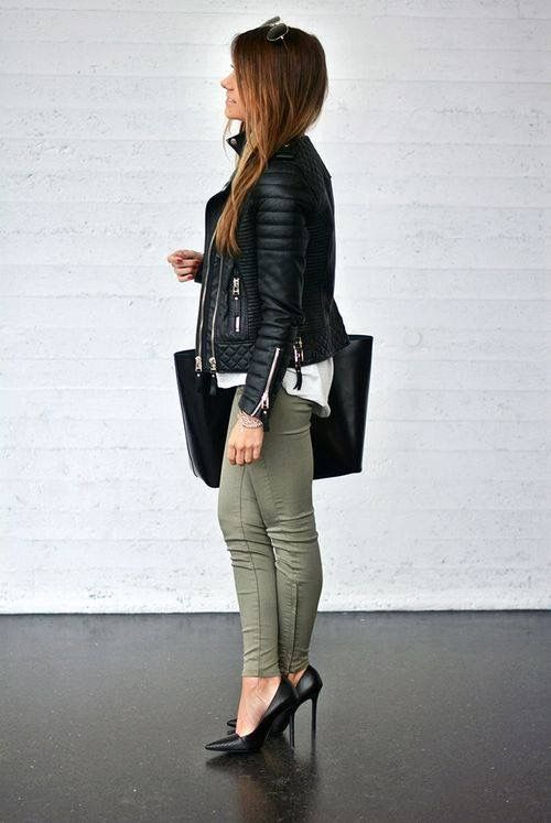 green skinny jeans high heels