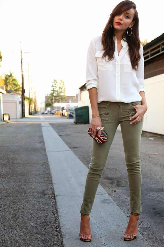 green skinny jeans neutral