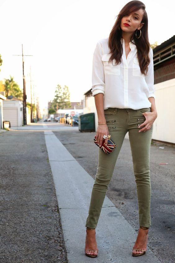 green skinny jeans neutral