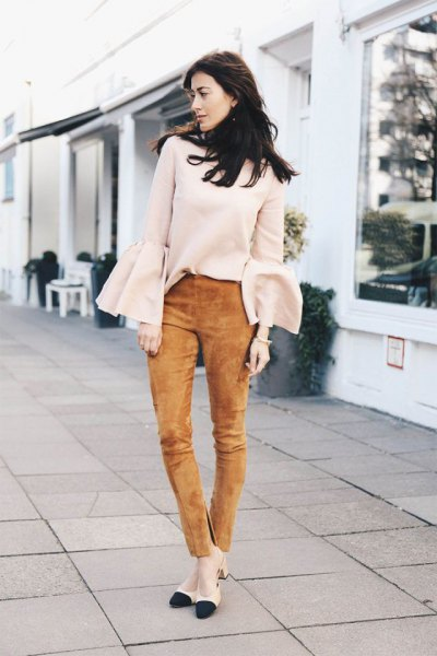 green suede pants white bell sleeve sweater