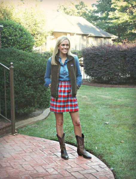 green vest denim shirt high waisted plaid skirt