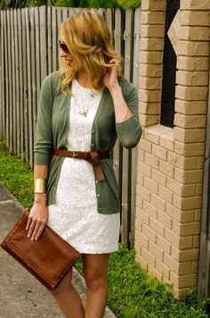 grey belted cardigan white lace dress