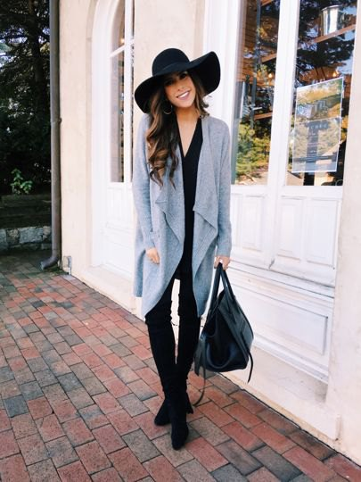 grey cardigan leather leggings outfit