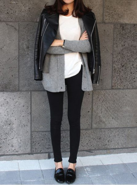grey cardigan leggings loafers