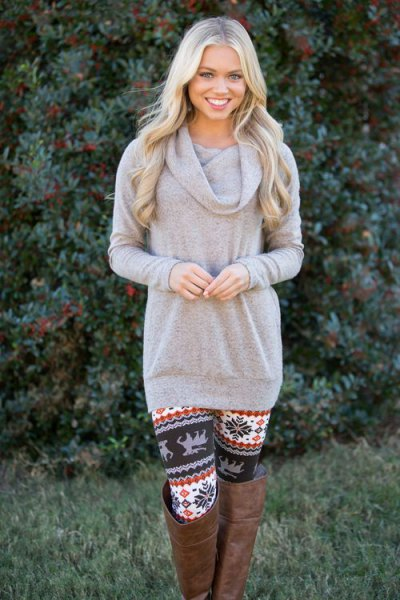 grey cowl neck sweater floral printed leggings