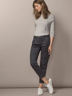 grey cropped chinos knit sweater outfit