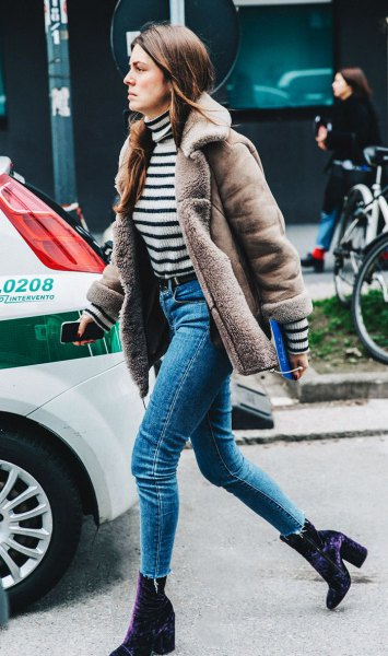 grey faux fur collar suede jacket