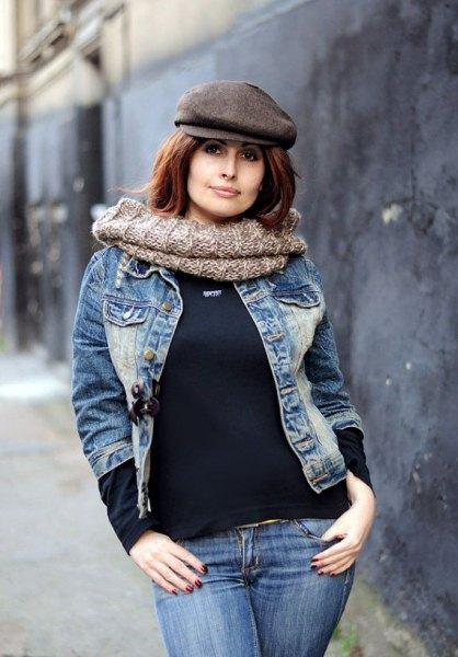 grey flat cap denim jackets and jeans