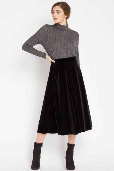grey high neck knit sweater midi velvet skirt