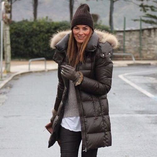 grey knit sweater black puffer jacket
