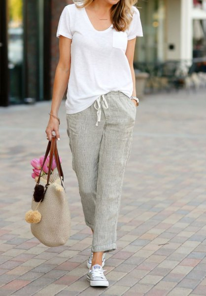 grey linen pants white u neck t shirt outfit