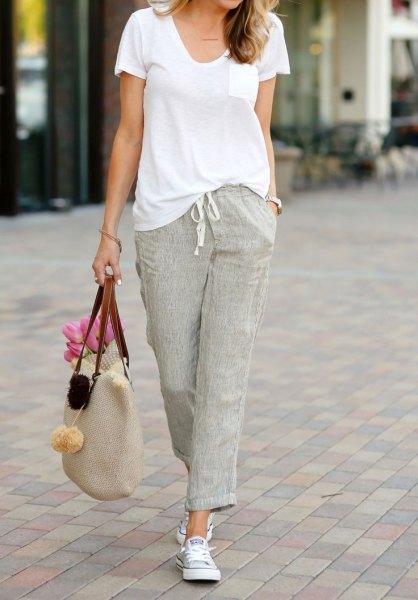 grey linen pants white u neck t shirt outfit