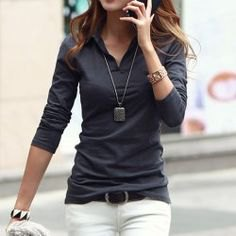 grey long sleeve skinny fit polo shirt outfit
