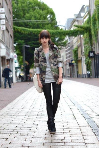 grey long sleeve t shirt camo blazer