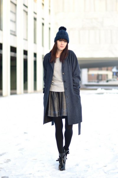 grey mini skirt long navy cardigan knit hat