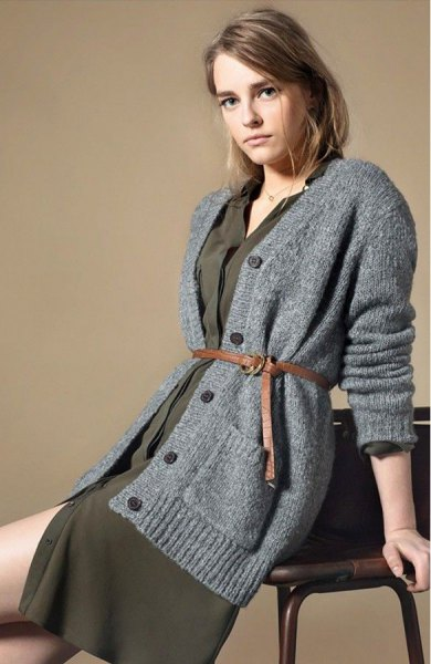 grey oversized knit cardigan green shift dress