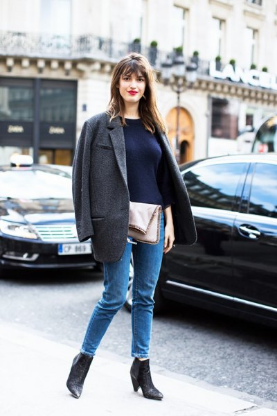 grey oversized wool blazer ankle boots