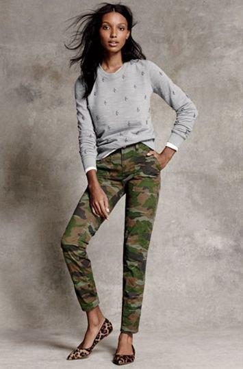 grey sweater camo pants cheetah flats