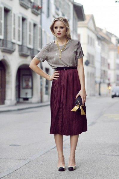 grey t shirt high waisted midi skirt