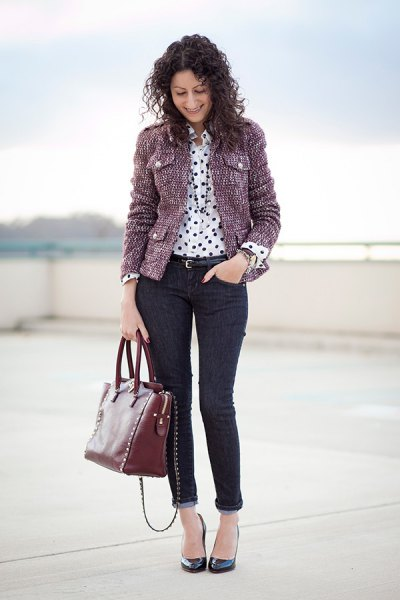 grey tweed jacket polka dot shirt cuffed jeans