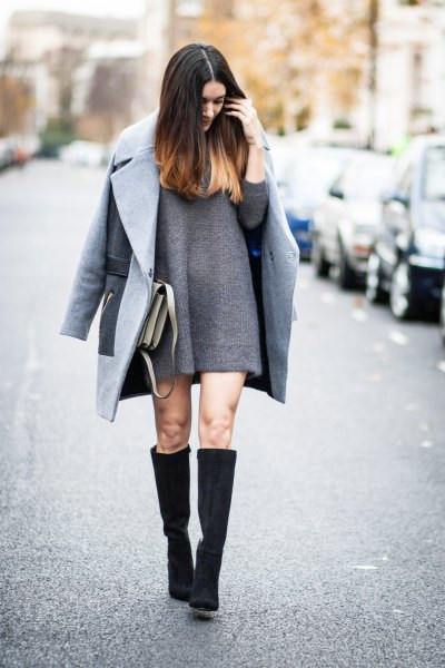 grey wool coat knee high boots