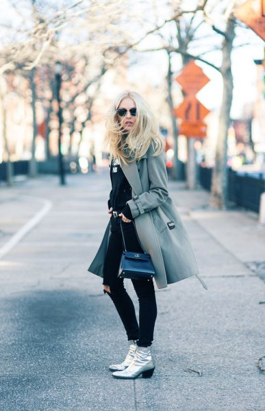 grey wool coat silver leather ankle boots