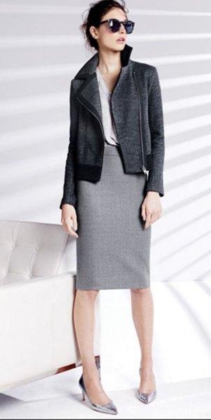 grey zip front blazer