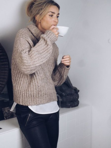 high neck grey chunky sweater black leather pants