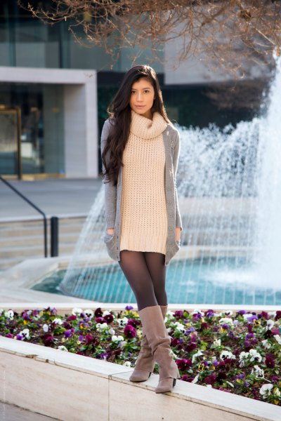 high neck knit sweater suede boots