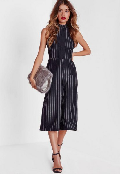 high neck sleeveless striped culotte jumpsuit
