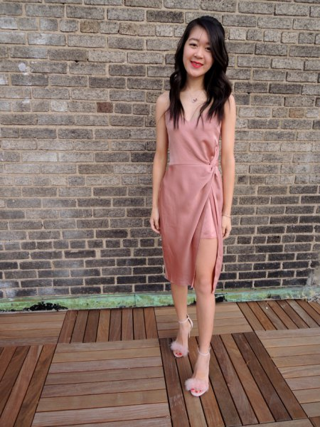 high split pink silk dress fluffy heels