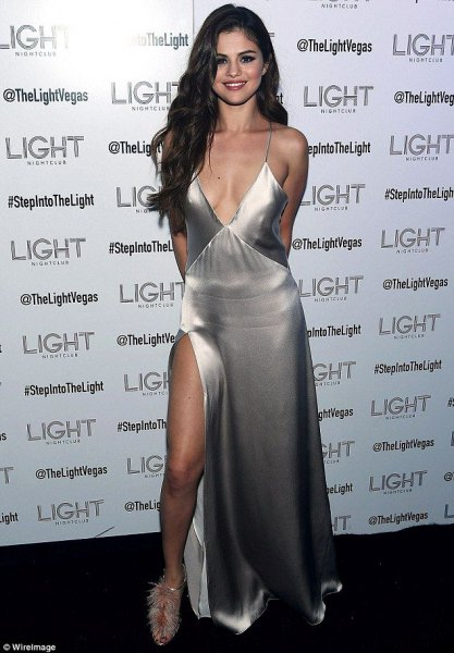 high split silver silk dress