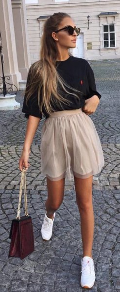 high waisted beige chiffon shorts