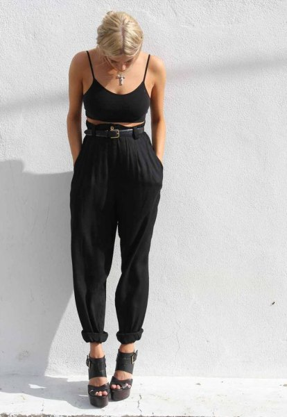 high waisted harem pants black bra top