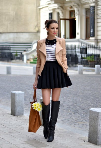 high waisted mini flare skirt in winter