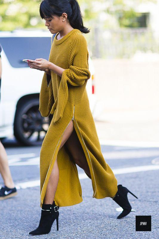 knit sweater dress yellow