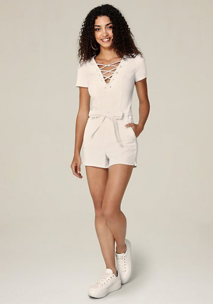 lace up white denim belted romper